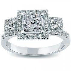 1.76 Carat E-VS2 Three Stone Princess Cut Diamond Engagement Ring 14k White Gold