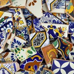 10 Pounds of Broken Talavera Mexican Ceramic Tile in Mixed Decorative Designs Blue Mosaic Tile, Mosaic Diy, Mosaic Glass, Stained Glass, Mosaic Garden, Garden Art, Accent Wall Decor, Mexican Ceramics, Simile