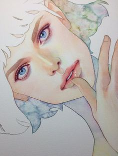 Amazing Learn To Draw Eyes Ideas. Astounding Learn To Draw Eyes Ideas. Watercolor Portrait Painting, Watercolor Face, Portrait Art, Watercolor Illustration, Painting & Drawing, Illustrations, Art Sketchbook, Character Illustration, Cool Drawings