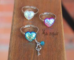 Heart Rings Mermaid Dragon colours Rainbow scales! Handmade Jewelry Adjustable…