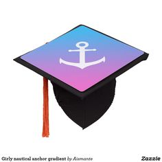 Girly nautical anchor gradient graduation cap topper