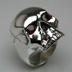 Skull Ring in Sterling Silver & Ruby - Mens and Womens Rings - Designer Jewellery by Stephen Einhorn London