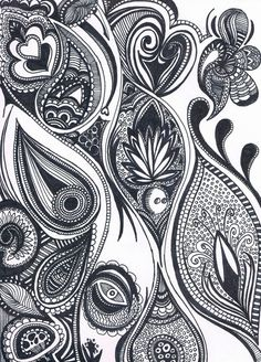 zendoodle free patterns | Zentangle paisley feather --- I love the little spotted cupcake :)