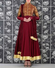 Wine Anarkali Suit with Floral Printed Jacket - Rohit Bal - Designers