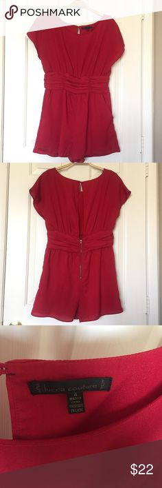 Lucca Couture Romper Romper in classic red color. Has an open back, exposed metal zip, and pockets. Nice waistband detail. 100% poly self, 100% rayon lining. Size 4. Lucca Couture Other