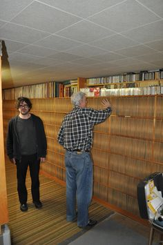 """""""Lou Barlow from Sebadoh looking suitably stunned as Joe Bussard shows him his collection of 78s """" #vinyl"""