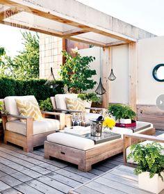 Inspirasjon terrasse, lite overbygg