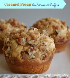 Caramel Pecan Ice Cream Muffins | Simply Southern Baking
