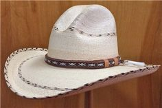 Premium Palm Straw Cowboy Hat With Gus Stripe Hat