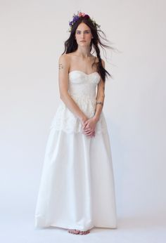 Stone Fox Bride Penelope Dress with Bustier and Peplum and fresh flower crown http://www.stonefoxbride.com/shop-dresses/
