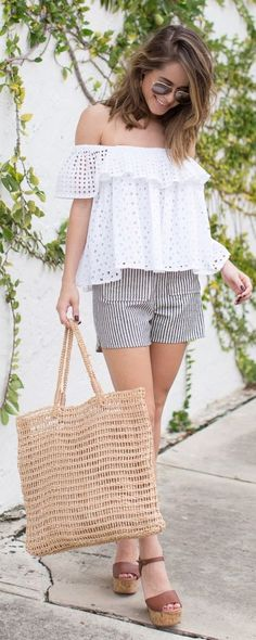 The Style Bungalow Eyelet And Stripe Outfit Idea