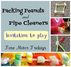An easy invitation to play with packing peanuts and pipe cleaners - great for fine motor skills!