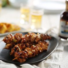 Tender bite-sized chicken marinated in teriyaki, skewered with scallions and grilled with additional sauce to glaze