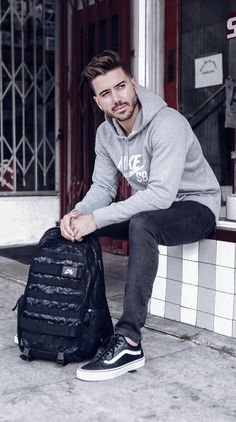 - with monochrome fall outfit with a gray nike hoody black denim black old skool vans no show socks black nike backpack Black Nike Backpack, Vans Black Old Skool, Old Skool Outfit, Sport Outfits, Winter Outfits, Bird Shoes, Camouflage Jacket, Hooded Parka, Grey Nikes