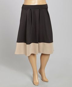 Loving this Black & Beige Color Block Pleated Skirt - Plus on #zulily! #zulilyfinds