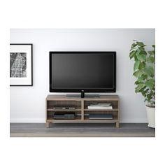 IKEA - BESTÅ, TV-Bank, grau las. Nussbaumnachb., , Dank mehrerer Öffnungen auf der Rückseite der TV-Bank lassen sich Kabel von Fernseh- und anderen Geräten verdeckt, aber griffbereit ordnen.Durch die Öffnung auf der Rückseite lassen sich Kabel verdeckt, aber griffbereit sammeln und ordnen.
