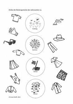 Seasons and clothing – language Pinecone Crafts Kids, Crafts For Kids, Preschool Worksheets, Preschool Activities, English Classroom Decor, German Language Learning, Free Printable Worksheets, Pre School, Seasons