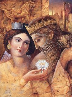 This is Queen Esther and King Ahasuerus, and the Story of Purim.read the Book of Esther. Ancient Persian, Ancient Art, Ancient History, Art History, Cyrus The Great, The Bible Movie, Art Optical, Persian Culture, Biblical Art