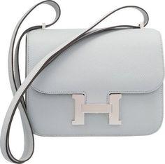 Hermes 18cm Blue Glacier Epsom Leather Constance Bag with Palladium Hardware 2016 #hermes