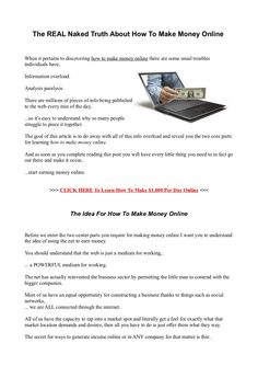 The REAL NAKED Truth About How To Make Money Online by BilleeBrady via Slideshare