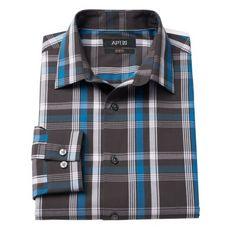 Apt. 9® Hartland Slim-Fit Plaid Stretch Spread-Collar Dress Shirt - Men $21.99
