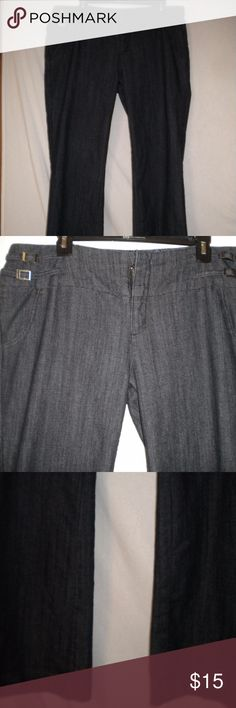 """Boom Boom Junior Size 15 Jeans Barely Worn. Boom Boom Jeans Junior Size 15 Jeans. Zipper with an inside metal closure. Two front faux pocket.  Double side buckles  on the waist.  Two back slit pockets. 75% Cotton, 23% Polyester, 2% Spandex. Waist measuring all the way around approx 38"""". Waist lying flat approx 19"""" total 38"""". Front rise approx 9 1/2"""". Inseam approx 32"""". Leg opening around approx 20"""". Boom Boom Jeans"""