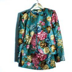 Ungaro blue tapestry print skirt suit