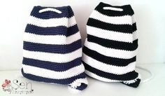 Handmade stripped crochet backpacks... Navy and black