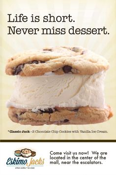 Not all of our ice cream sandwiches are fancy. Sometimes you have to go for the Classic Jack. Ice Cream Images, Ice Cream Parlor, Homemade Cookies, Vanilla Ice Cream, Chocolate Chip Cookies, Sandwiches, Cancer, Artisan, Favorite Recipes