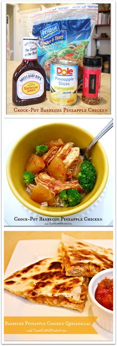 CROCK-POT BARBECUE PINEAPPLE CHICKEN: So many things you can make - BBQ sandwiches, quesadillas or throw it over some rice with vegetables! Great leftovers!