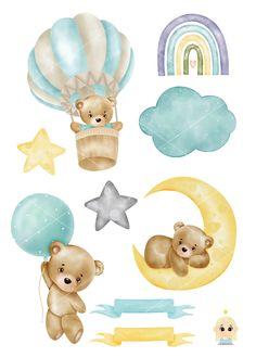 Baby Boy Watercolor clipart, Blue Baby Shower, It's a Boy Clipart, Baby Bear, Hot Air balloon, Moon, Nursery clipart Baby Shower Clipart, Baby Shower Cards, Baby Boy Shower, Animal Nursery, Nursery Art, Moon Nursery, Bear Clipart, Clipart Baby, Hot Air Balloon Clipart