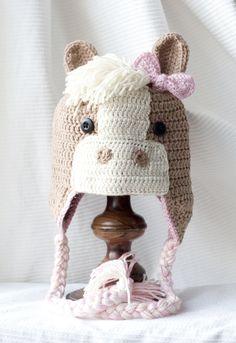 Crochet Earflap Horse Hat