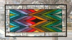 A Jagged Blend of Color Stained Glass Window Panel Signed and Dated   eBay