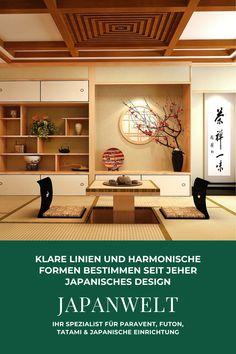Klare Linien und harmonische Formen bestimmen seit jeher japanisches Design. Dieser Stil ist in seiner Schlichtheit und Eleganz einzigartig. Sowohl die Fertigung traditioneller Tatami, als auch die Entwicklung moderner japanischer Produkte folgt dieser Philosophie. Japanisch Wohnen – das ist mehr als ein Einrichtungsstil.  Japanwelt hat sich der Verbreitung japanischer und asiatischer Lebensart verschrieben und verfügt europaweit über das größte Sortiment sorgfältig ausgewählter Produkte. Japan Design, Advertising Space, Light Texture, Small Changes, Beautiful Architecture, Old And New, Modern, Interior Design, Home Interiors
