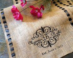 Burlap Ribbon Table Runner - Monogrammed Burlap - Custom Personalized Monogram Embroidered - Thanksgiving Table Decor