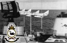 Douglas Skyhawks perform an echelon low pass by HMAS Swan. Royal Australian Navy, Naval History, Jet Engine, Us Navy, Marine Corps, Military Aircraft, Wind Turbine, Swan, Aviation