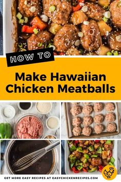 These succulent Hawaiian Chicken Meatballs tender and flavorful, and covered in a sweet and savory ginger and soy sauce. Serve as an appetizers, or part of a delicious family meal. #meatballs #groundchicken #appetizer #chickenrecipe Kid Friendly Chicken Recipes, Easy Chicken Recipes, Chicken Appetizers, Appetizer Recipes, Recipe List, Hawaiian Chicken, Chicken Meatballs, Yum Food, Soy Sauce