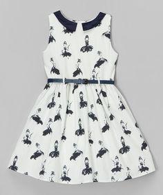 Look what I found on #zulily! White & Navy Lady Belted Dress - Toddler & Girls #zulilyfinds