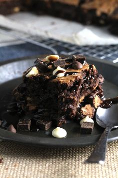 The amount of chocolate in these Triple Chocolate Chunk Brownies should be illegal. Rich and fudgy with chunks of dark, milk, and white chocolate baked in, this is the perfect cheat day dessert!