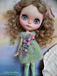BLYTHE DOLL Dress OOAK Delicate green mohair with vintage