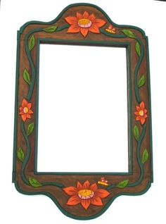 :D❤️Vintage Folk Art Carved Wood Painted Wall Mirror Mexico Flowers Butterflies #Handmade #VintageRetro