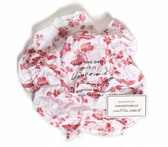 Devoir Collection / Save-the-Date / Custom Tissue Paper / Hand Stamped / Boxed Invitation / Persimmon, Coral, Red / Floral