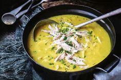 Potato, leek and chicken soup