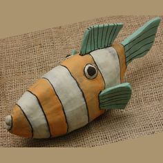 Ceramic Fish Sculpture Handmade EXOTIC TRIGGER by ZenCeramics, $63.00