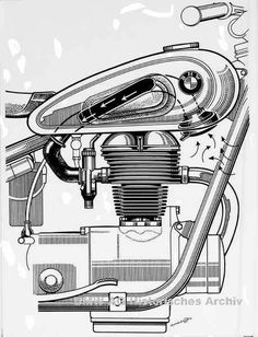 1953 BMW R25/3 250cc - air intake system with tube thru fuel tank to front mounted air filter.