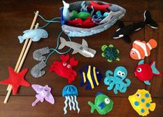Magnetic fishing game. Under the sea party favors. Sea animals, fish, whale, dolphin turtle shark mermaid crab boat rods  on Etsy, $34.00