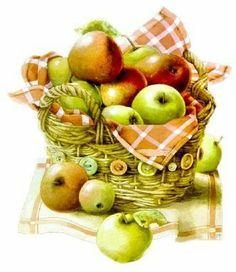 basket with fruits-Mis Laminas para Decoupage