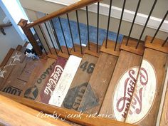 Basement stairs painted wooden crate stairs from Funky Junk Interiors. more great interior projects a Old Crates, Old Pallets, Wooden Crates, Wine Crates, Wine Boxes, Cageots Vintage, Clock Vintage, Vintage Logos, Vintage Labels