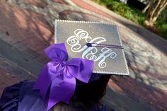 My Graduation Cap! #monogram #glitter #bow