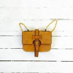 Saddle Tan Italian Suede Leather Purse // Four Pouch Adjustable Strap Bag // Abraham and Strauss